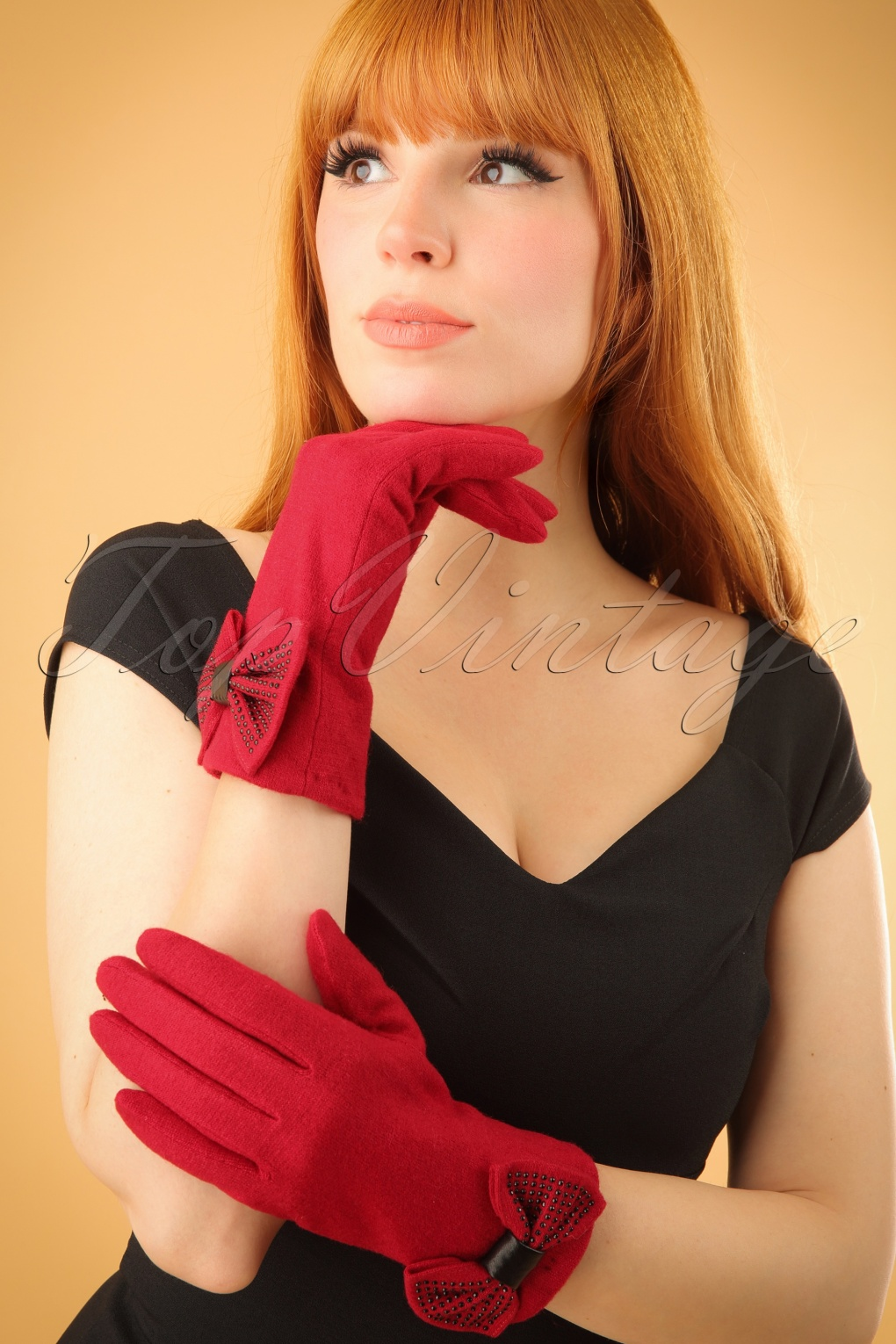 Vintage Style Gloves 50s Jolie Wool Gloves in Red £21.80 AT vintagedancer.com