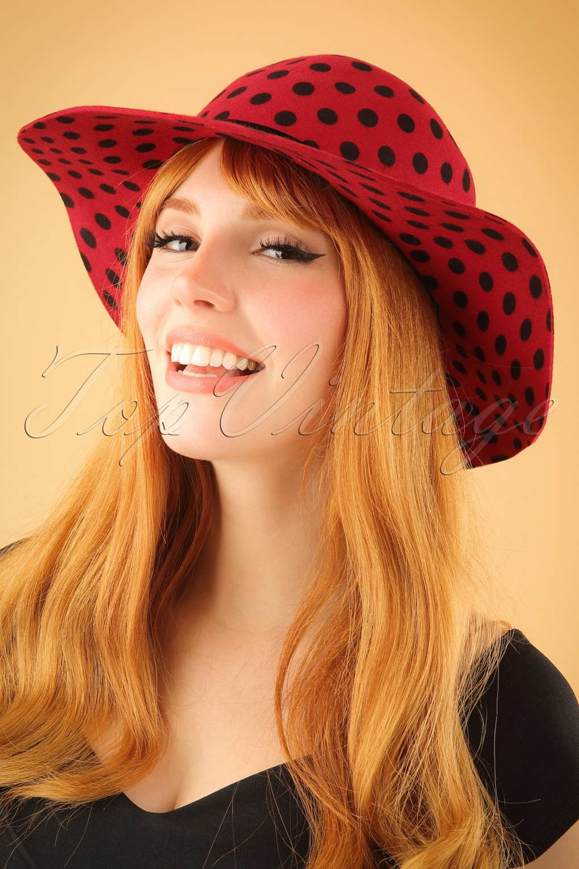 Retro Vintage Style Hats 50s Celine Polkadot Wool Hat in Red £39.28 AT vintagedancer.com