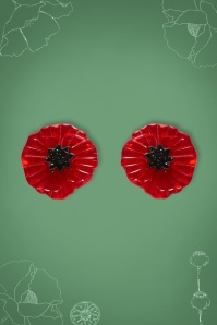 60s Poppy Field Earrings in Red