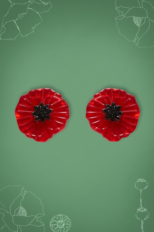 Erstwilder 60s Poppy Flower Earrings in Red 339 20 23922 01