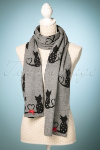 Alice Hannah Cat Jaquard Scarf in Grey and Black 240 15 22685 20171030 0012w