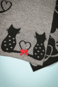 Alice Hannah Cat Jaquard Scarf in Grey and Black 240 15 22685 20171030 0009
