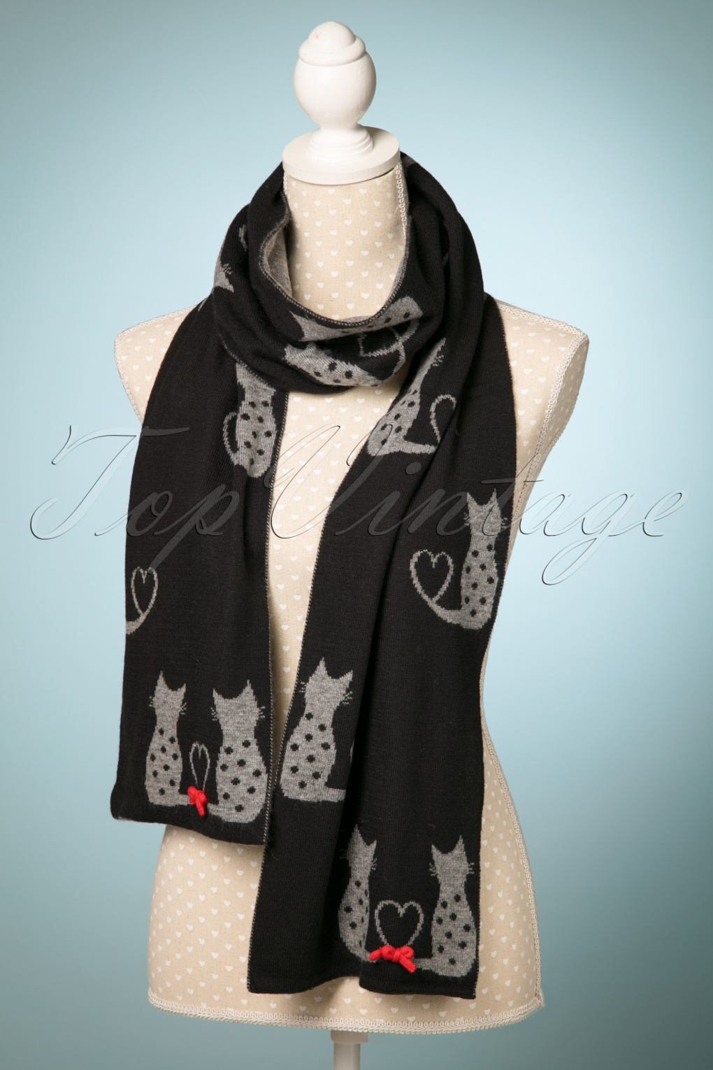Vintage Scarf Styles -1920s to 1960s 60s Love Cats Jaquard Scarf in Black £24.88 AT vintagedancer.com