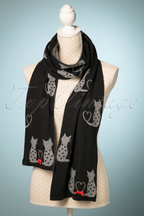 Alice Hannah Cat Jaquard Scarf in Black and Grey 240 10 22684 20171030 0027w