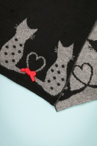 Alice Hannah Cat Jaquard Scarf in Black and Grey 240 10 22684 20171030 0019