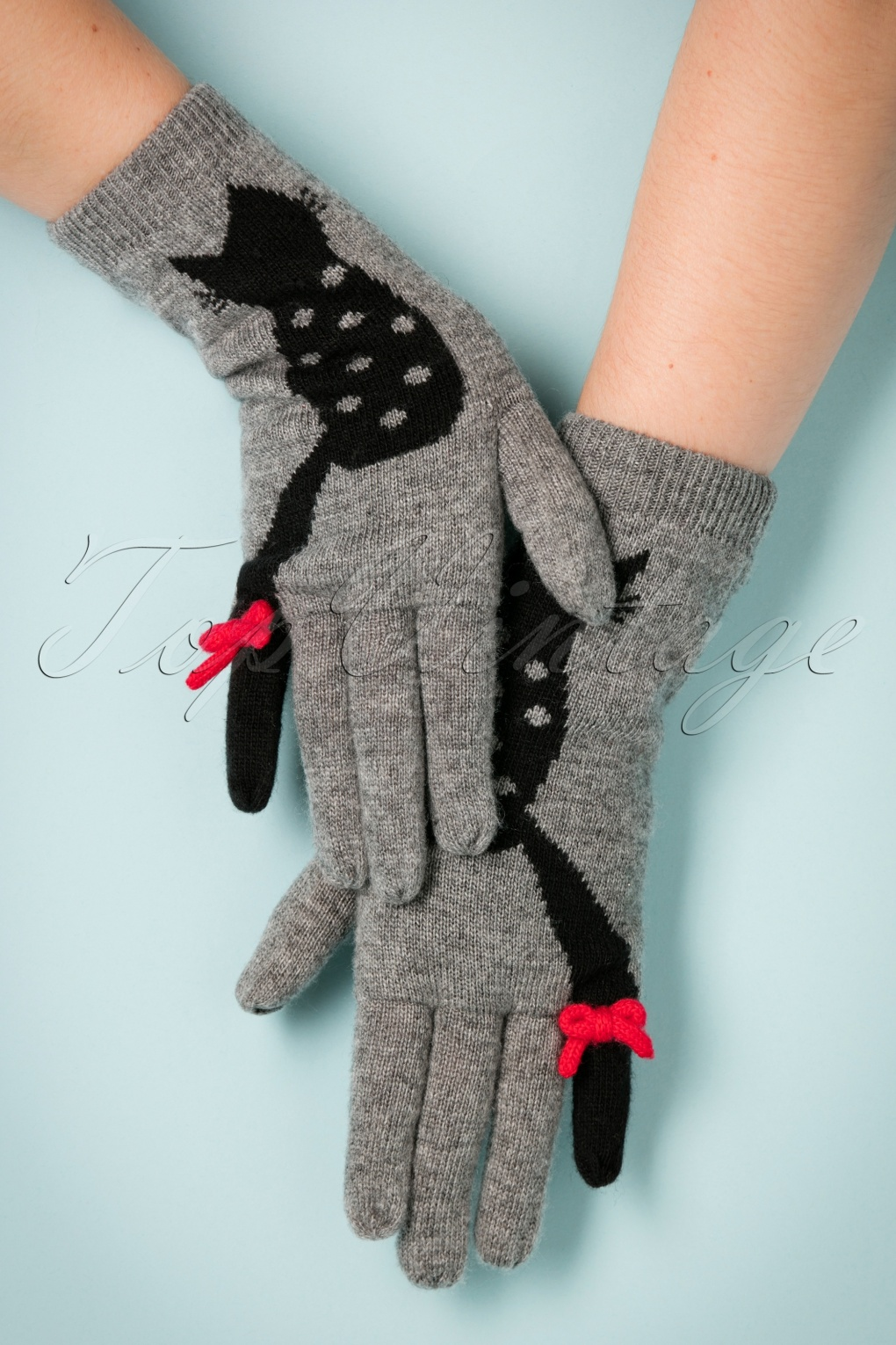 Vintage Style Gloves- Long, Wrist, Evening, Day, Leather, Lace 60s Love Cats Jaquard Gloves in Grey £21.81 AT vintagedancer.com