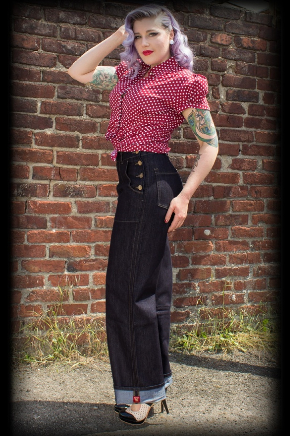 1940s Swing Pants & Sailor Trousers- Wide Leg, High Waist 50s Marlene Jeans in Denim Blue £106.01 AT vintagedancer.com