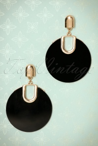 50s Retro Disk Earrings in Gold and Black