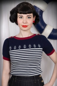 50s Let go Anchor Pullover in Navy