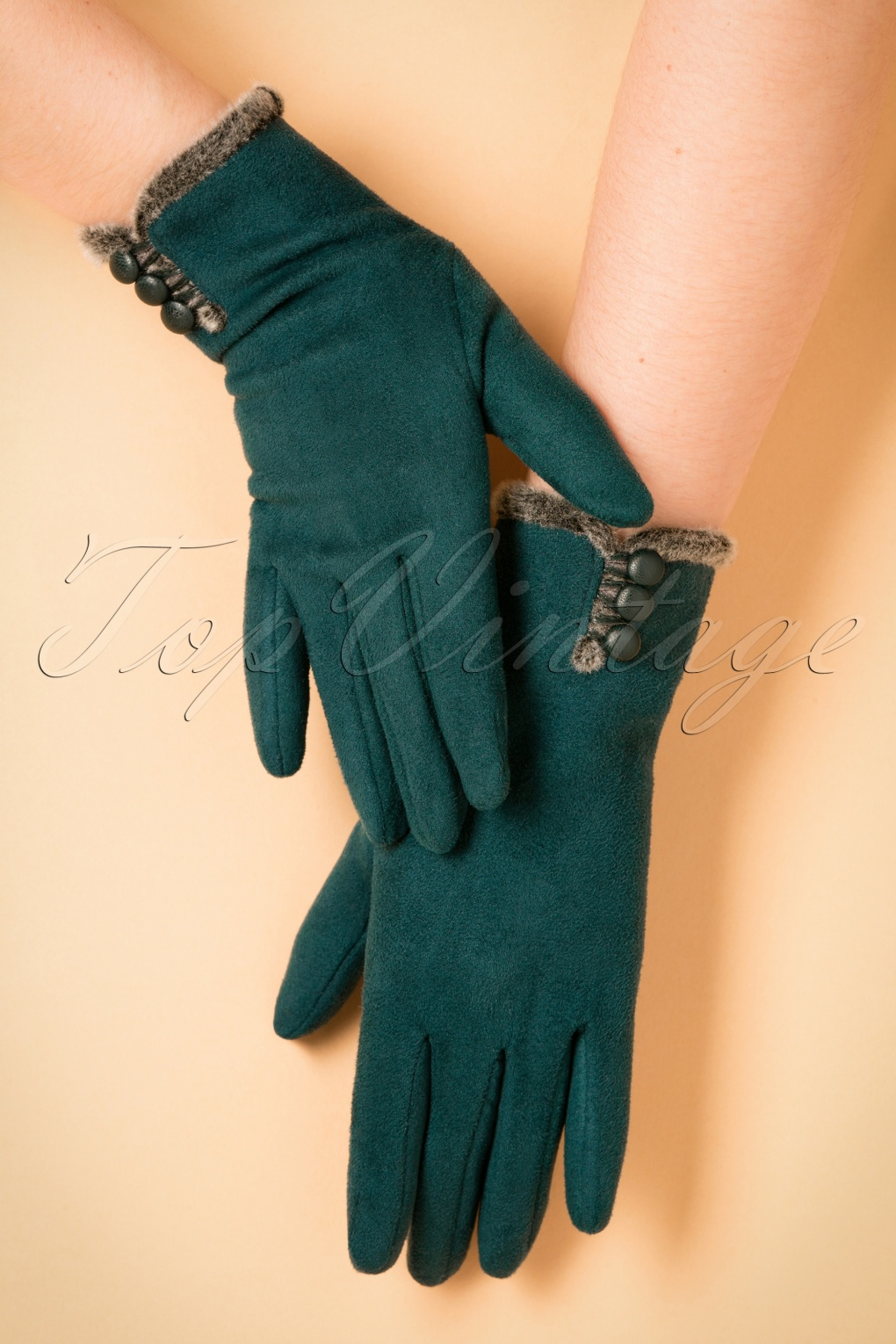 Vintage Style Gloves 40s Amanda Suedine Gloves in Teal £30.54 AT vintagedancer.com