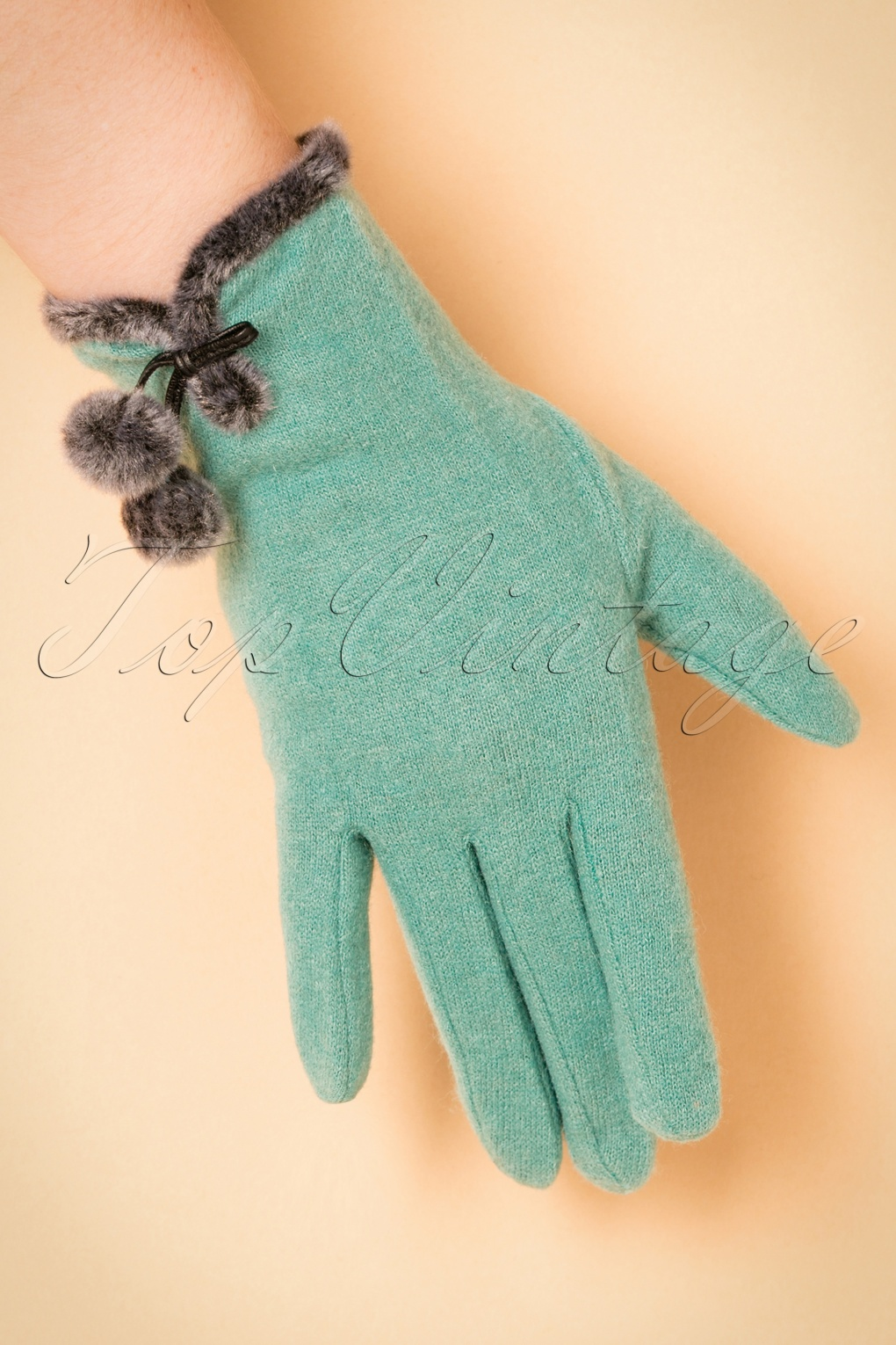 Vintage Style Gloves 40s Betty Pompom Wool Gloves in Sea Green £26.17 AT vintagedancer.com