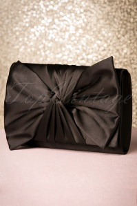 50s Satin Bow Evening Clutch in Black
