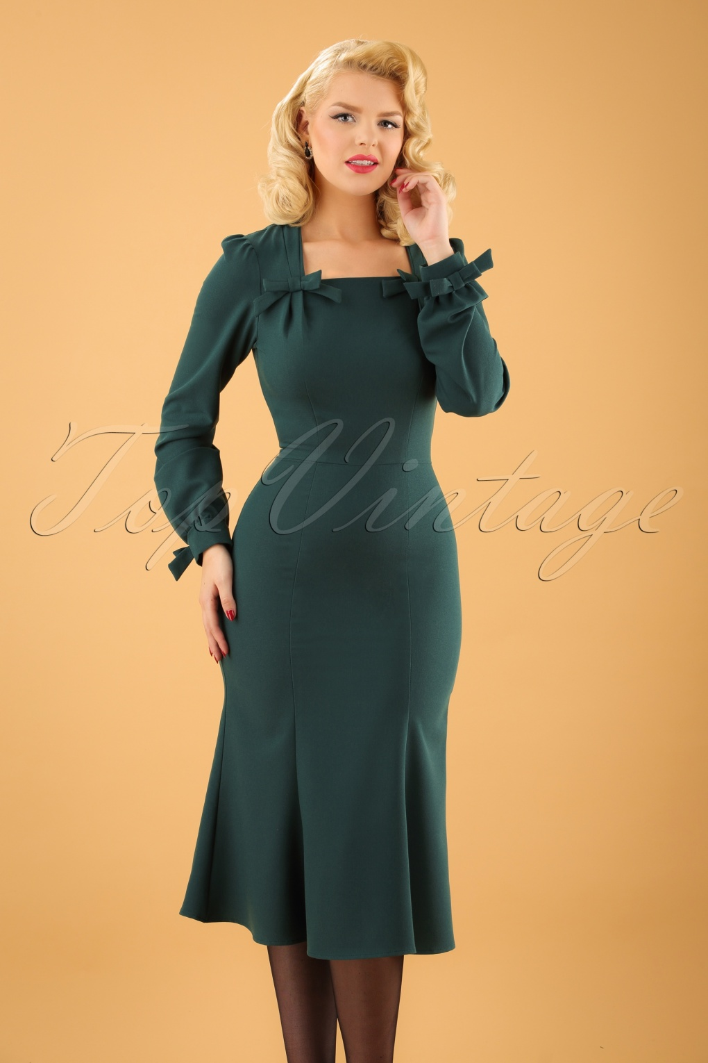 1940s Evening, Prom, Party, Cocktail Dresses & Ball Gowns 40s Micelena Bows Dress in Forest Green £153.84 AT vintagedancer.com