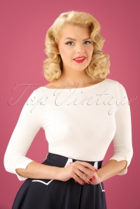 50s Modern Love Top in Ivory