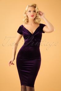 50s Glenda Velvet Pencil Dress in Purple