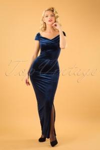 Vintage Chic Velvet Maxi Dress in Navy Blue 108 31 19634 20161010 01W