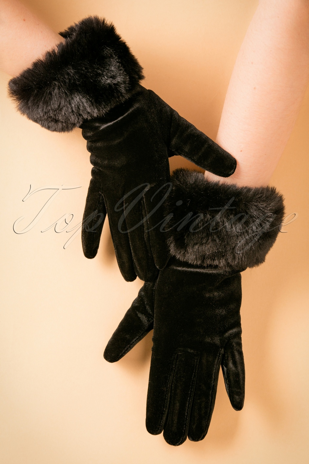 Vintage Style Gloves 50s Valentina Velvet Gloves in Black £22.05 AT vintagedancer.com