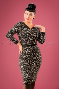 King Louie Audrey Dress in Black Leaves Print 100 14 21355 20170811 02W