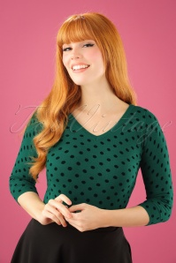 King Louie Deep V Top in Green with Polkadots 113 49 21362 20170929 0008W