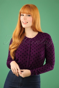 King Louie Roundneck Cardigan in Purple with Polkadots 140 69 21389 20170929 1W