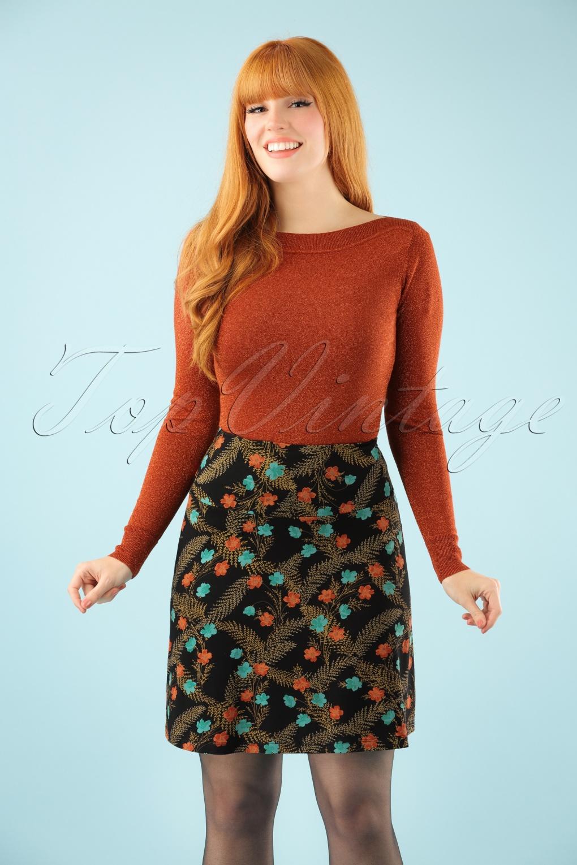 Retro Skirts: Vintage, Pencil, Circle, & Plus Sizes 60s Silvester Borderskirt in Black £53.90 AT vintagedancer.com