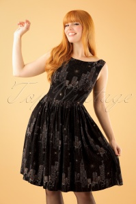 50s Abigail New York City Lights Dress in Black