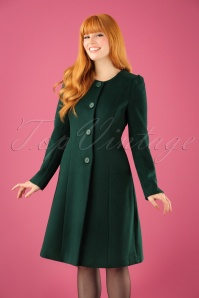60s Amelia Wool Coat in Forest Green