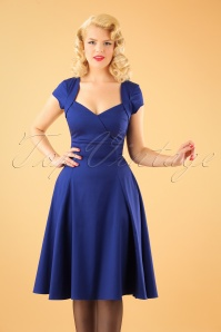 Collectif Clothing Regina Plain Doll Dress in Blue 21845 20170613 1W