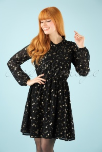 Yumi Ditsy Golden Flower Dress in Black 102 14 21917 20171004 1W