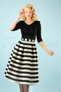 Collectif Clothing Marilu Striped Swing Skirt in Black and White 21929 20170606 1W