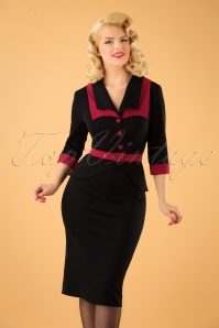 40s Valentina Rose Pencil Dress in Black and Red
