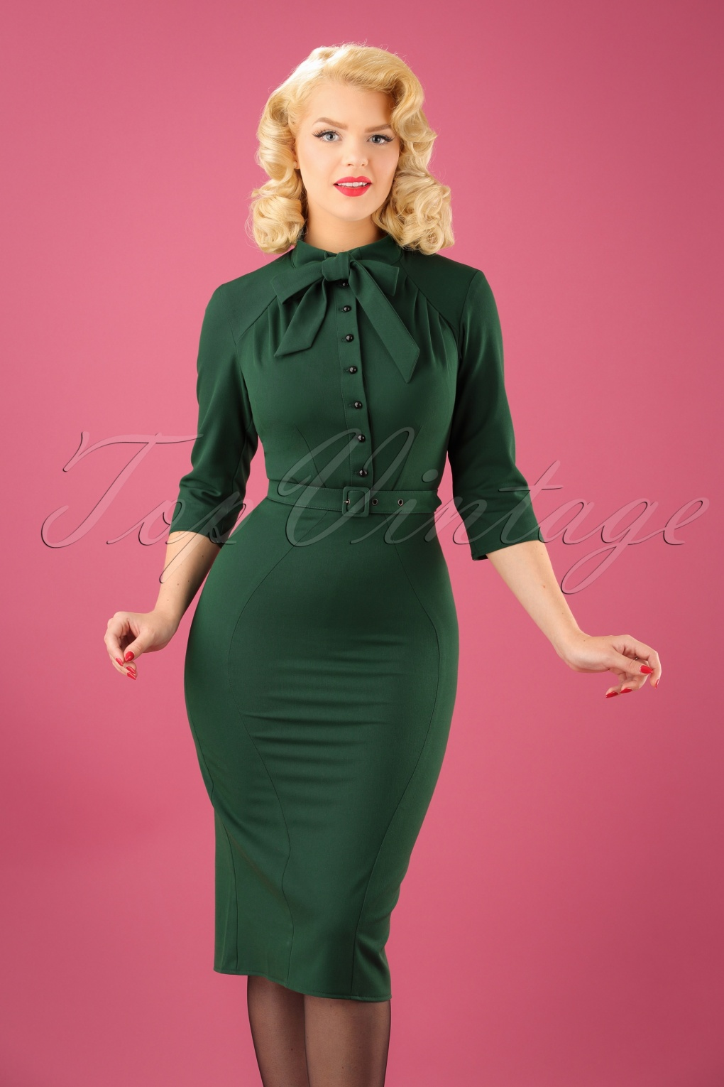 Wiggle Dresses | Pencil Dresses 40s Gina Pencil Dress in Green £90.91 AT vintagedancer.com
