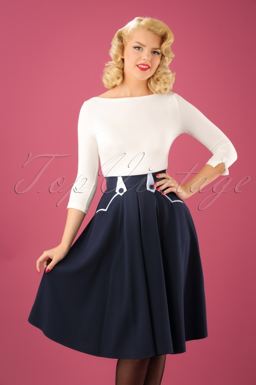Miss Candyfloss Plain Sailor Blue Swing Skirt 122 31 22209 20170922 1W