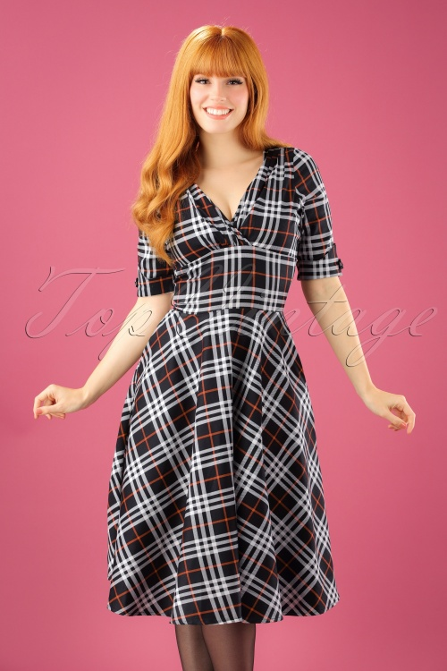 0b4289b8af7593 Unique Vintage 1950s Style Black White Plaid Delores Swing Dress 1021422312  1W
