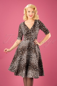 50s Delores Swing Dress in Leopard