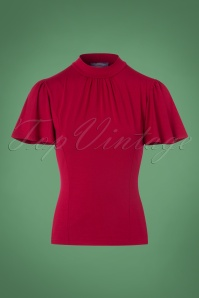 Topvintage Boutique Collection Viscose Waterfall Top in Red 113 20 22460 20170929 0002w