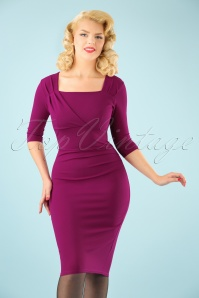 50s Rhonda Pleated Pencil Dress in Amaranth