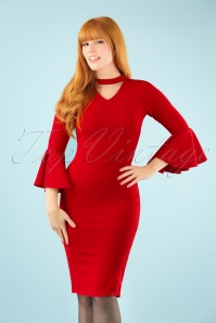 Vintage Chic Scuba Crepe Fill Sleeve Dress in Red 100 20 22477 20171004 1W