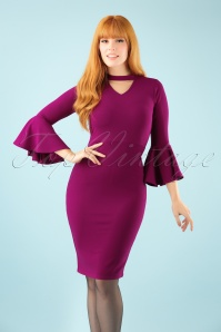 Vintage Chic Scuba Crepe Fill Sleeve Dress in Amaranth 100 60 22478 20171004 1W