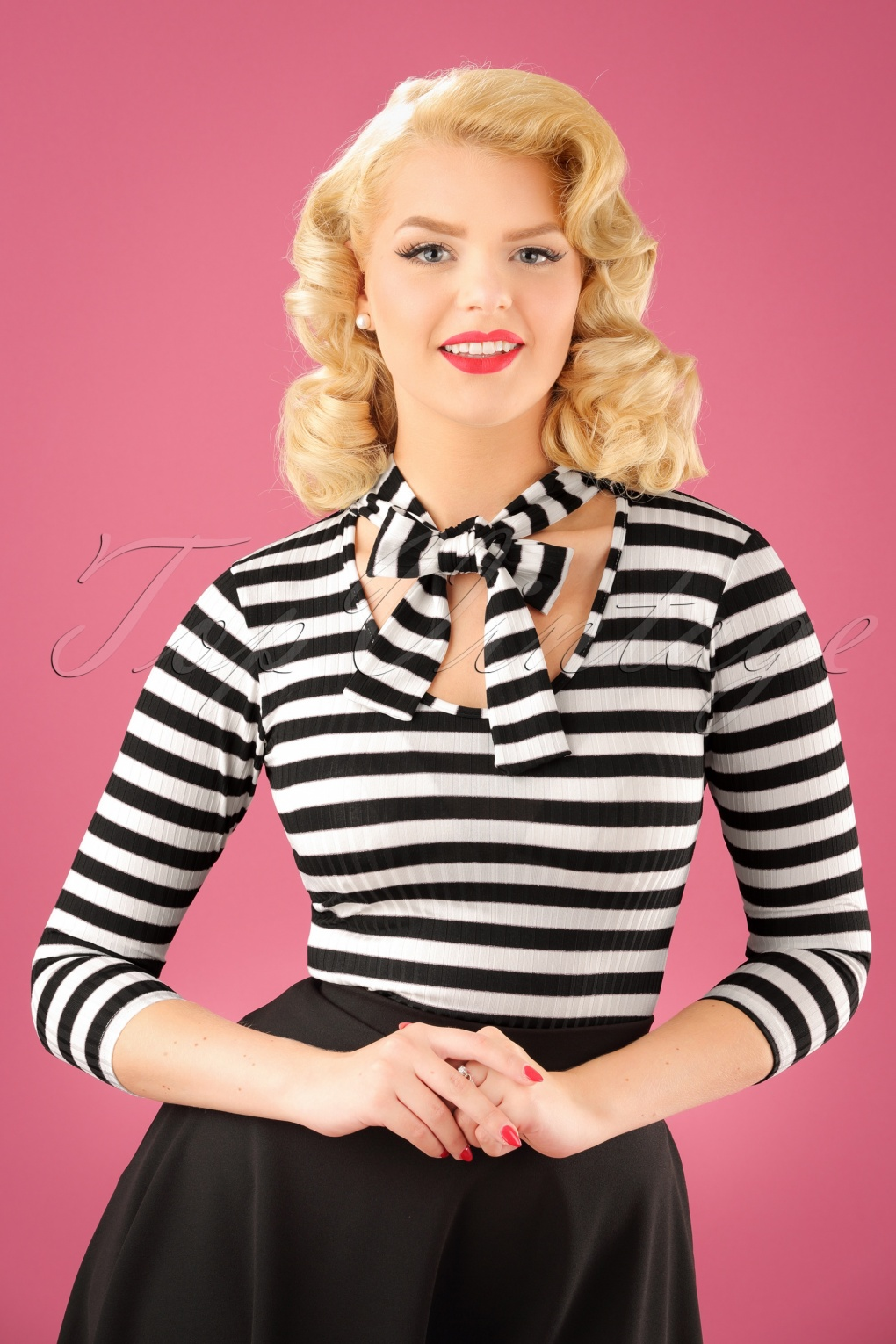 1950s Tops and Blouse Styles 50s Connie Striped Top in Black and White £26.47 AT vintagedancer.com