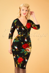 50s Madison Roses Pencil Dress in Black