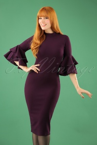 70s Lora Pencil Dress in Aubergine