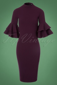 Vintage Chic Double Frill Purple Scuba Dress 100 60 22508 20171017 0002W