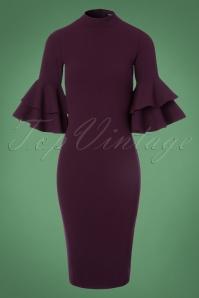 Vintage Chic Double Frill Purple Scuba Dress 100 60 22508 20171017 0002W