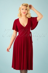 40s Lara Cross Over Swing Dress in Red