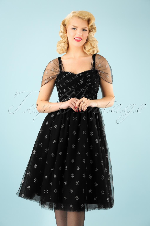 1950s Dresses, 50s Dresses | Swing, Wiggle, Pin Up Dresses 50s Snowstar Swing Dress in Black £64.48 AT vintagedancer.com