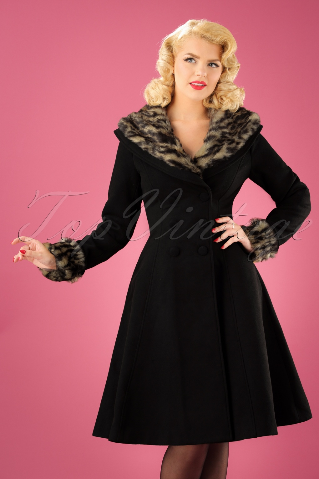 1950s Jackets, Coats, Bolero | Swing, Pin Up, Rockabilly 50s Feline Leopard Swing Coat in Black £123.52 AT vintagedancer.com