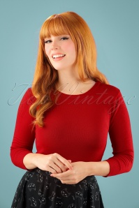 50s Debbie Sweater in Bright Red