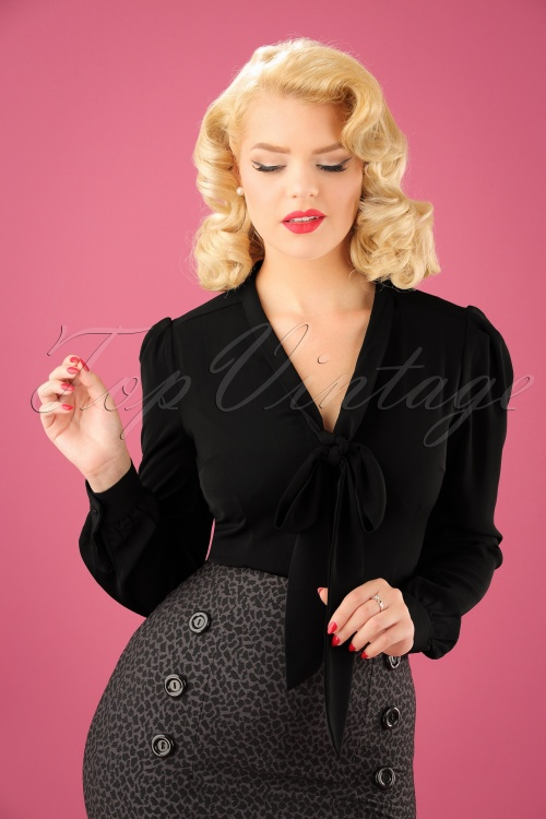 Dolly and Dotty Bow Blouse in Black 112 10 22967 20170928 1W
