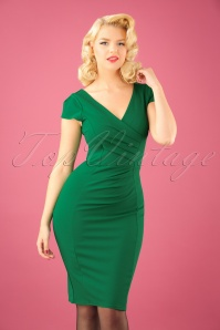 Vintage Chic Scuba Crepe Emerald Pencil Dress 100 40 22688 20170123 01W